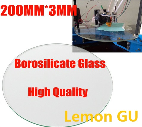 Borosilicate ROUND 3mm thick Diameter 200mm 3d printerglasses plate for Rostock delta KOSSEL 3d printer Borosilicate Glass plate flsun 3d printer big pulley kossel 3d printer with one roll filament sd card fast shipping