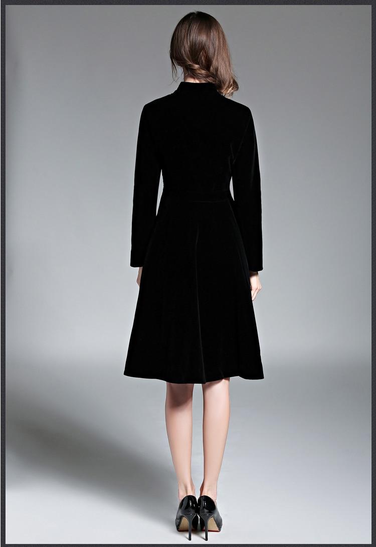 US $20.20 20% OFFElegante Schwarz Samt Kleid Winter Kleider Frauen 20  Vestido Vintage Langarm Damen Kleider Tunique Femme Dames Jurken  20dames