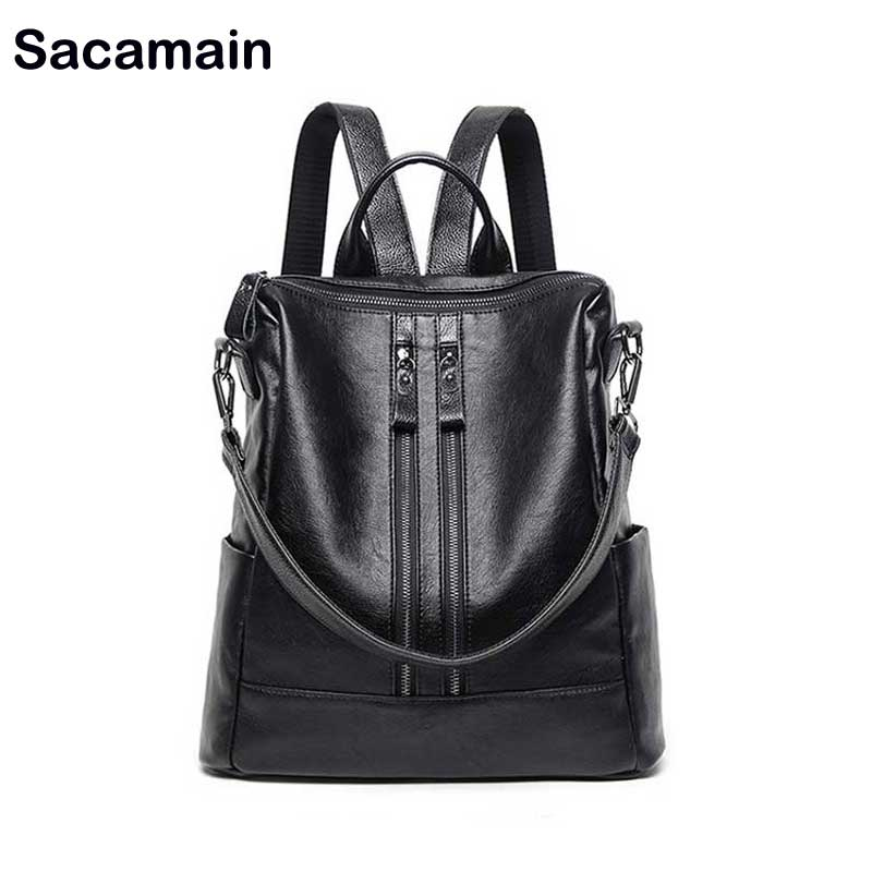 Sacamain Brand Designed Women Leather Backpacks 2018 New Classic Genuine Leather Backpack Waterproof Ladies Strap Daily Backpack 247 classic leather