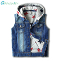 Grandwish das meninas jeans rasgados crianças colete jeans com capuz casacos sem mangas colete meninos estrela impressão de lavar roupa outerwear 24 m-10 t, SC864
