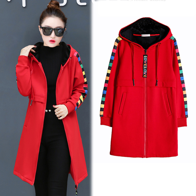 9b7ab3b55c0 Oversized long hooded jacket women plus size Hoodies cashmere thick warm  winter autumn jaket coats outerwear Red casual clothing