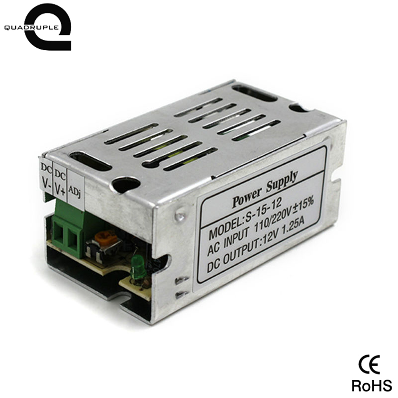 Quadruple 1. <font><b>25A</b></font> <font><b>12V</b></font> 15W Aluminum Shell LED Lighting Switching Driver Transformer <font><b>Power</b></font> <font><b>Supply</b></font> Adapter for LED Strip Lamps image