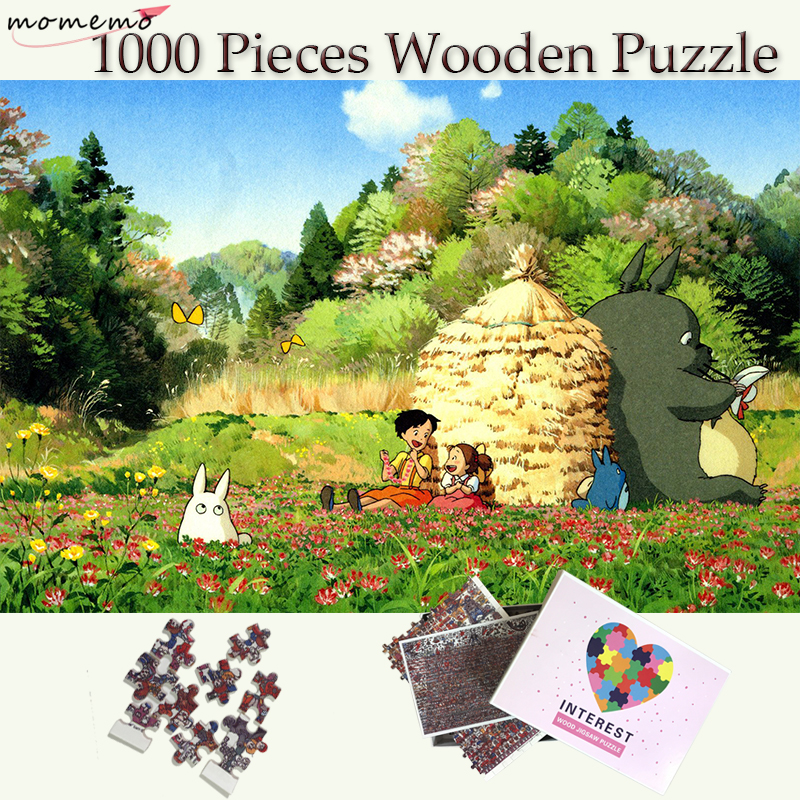 MOMEMO Totoro 1000 Pieces Wooden Puzzle Toys My Neighbor Totoro font b Anime b font Puzzle