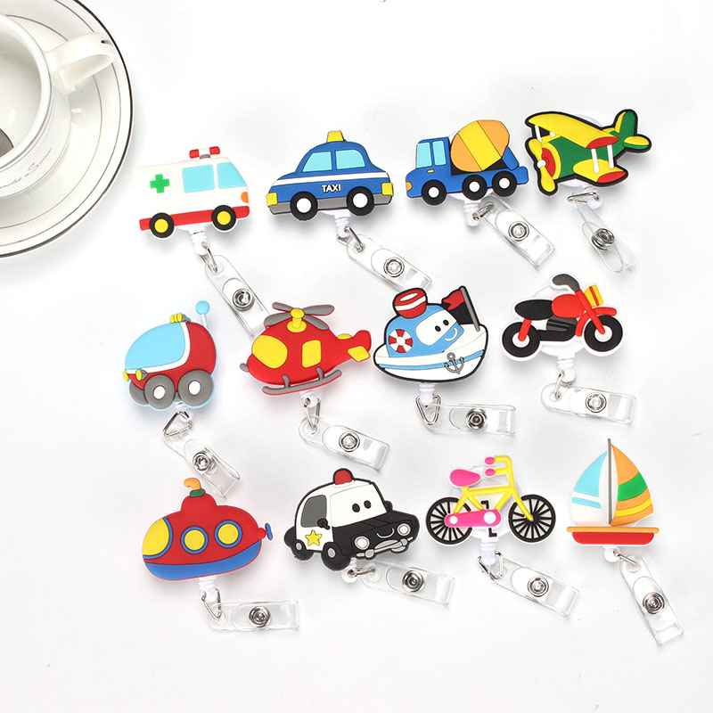 Transportation Retractable Badge Reel High quality silicone Student Nurse Exihibiton ID Name Card Badge Holder Office Supplies never leather badge holder business card holder neck lanyards for id cards waterproof antimagnetic card sets school supplies