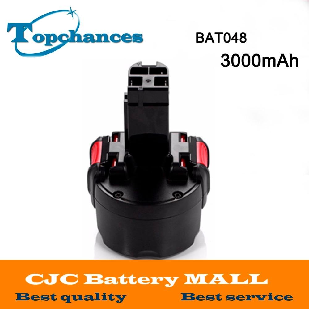High Quality BAT048 9.6V 3000mAh Ni-MH Rechargeable Battery Pack for Bosch PSR 960 2 607 335 272 32609-RT BPT1041 1 pc new 9 6v 2000mah replacement battery for bosch bh984 psr gsr 9 6 bat048 bpt1041 bat100 vhg17 t50
