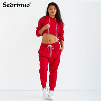 Autum Winter 2016 Sports Clothing Female Jumpsuit 2 Piece Set Crop Top Long Sleeve Loose Casual