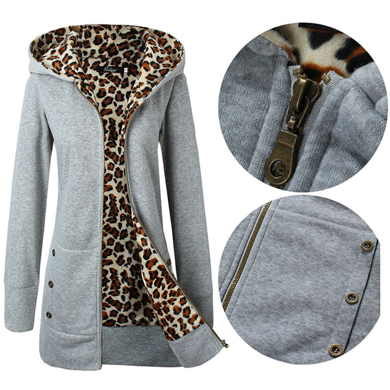 Leopard Hoodies Woman Winter Plus Size Overcoat Thick Solid Silm Clothes For Female Causal Winter Long Sweatshirt Women Coat