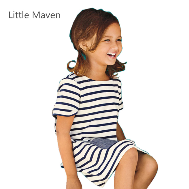 Little Maven Brand New Summer Girls Brief Blue Striped Short Sleeve O-neck Pocket Soft Knitted Cotton Causal Beach Dresses little maven brand new girls autumn spring long sleeved o neck fashion rabbits printed cotton cute casual dresses
