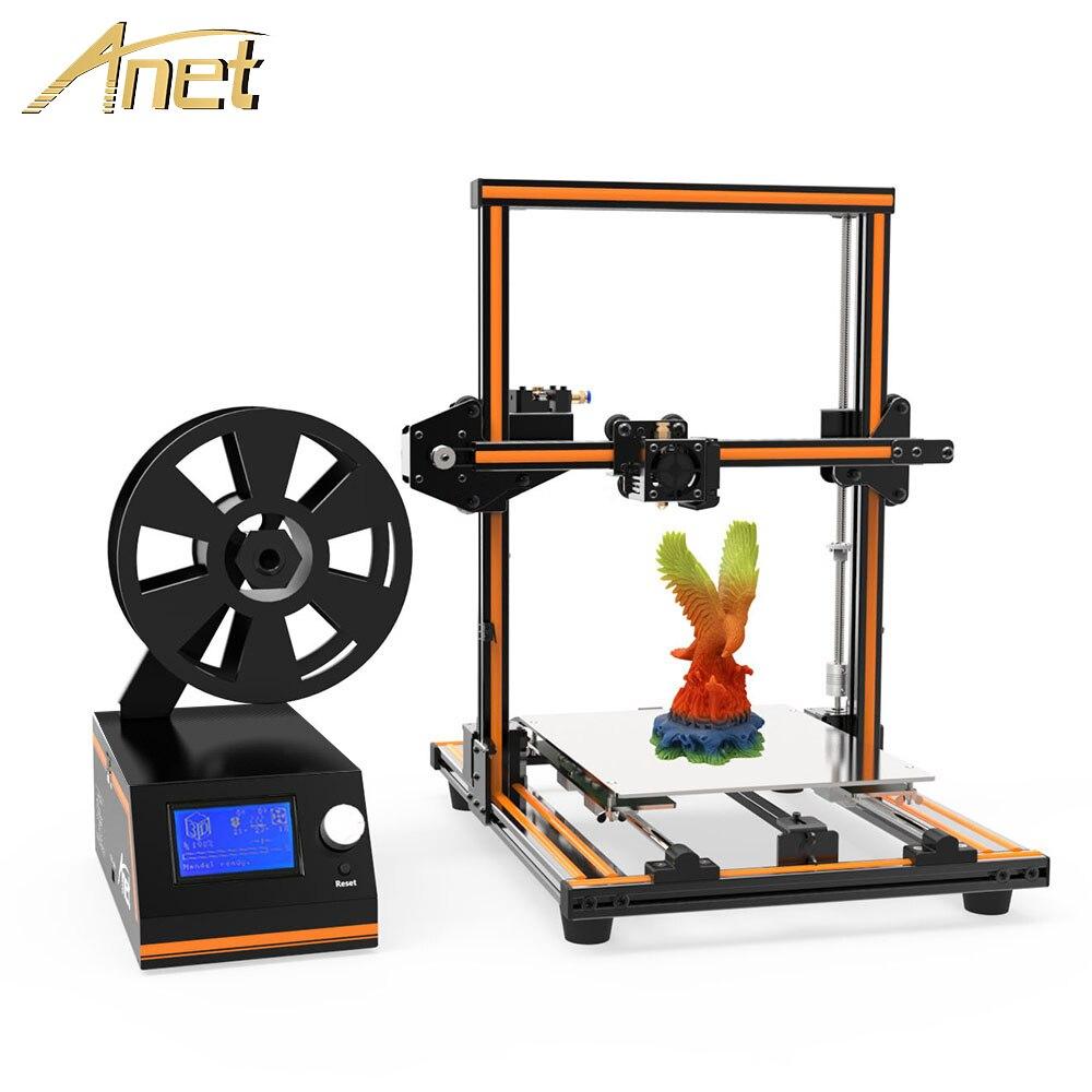 Anet Alumínio E12 E10 Reprap i3 impressora 3D Filamento de Impressora DIY Kit Imprimant 3D Grande Tamanho de Impressão Presente Cartão SD 3D Impressora