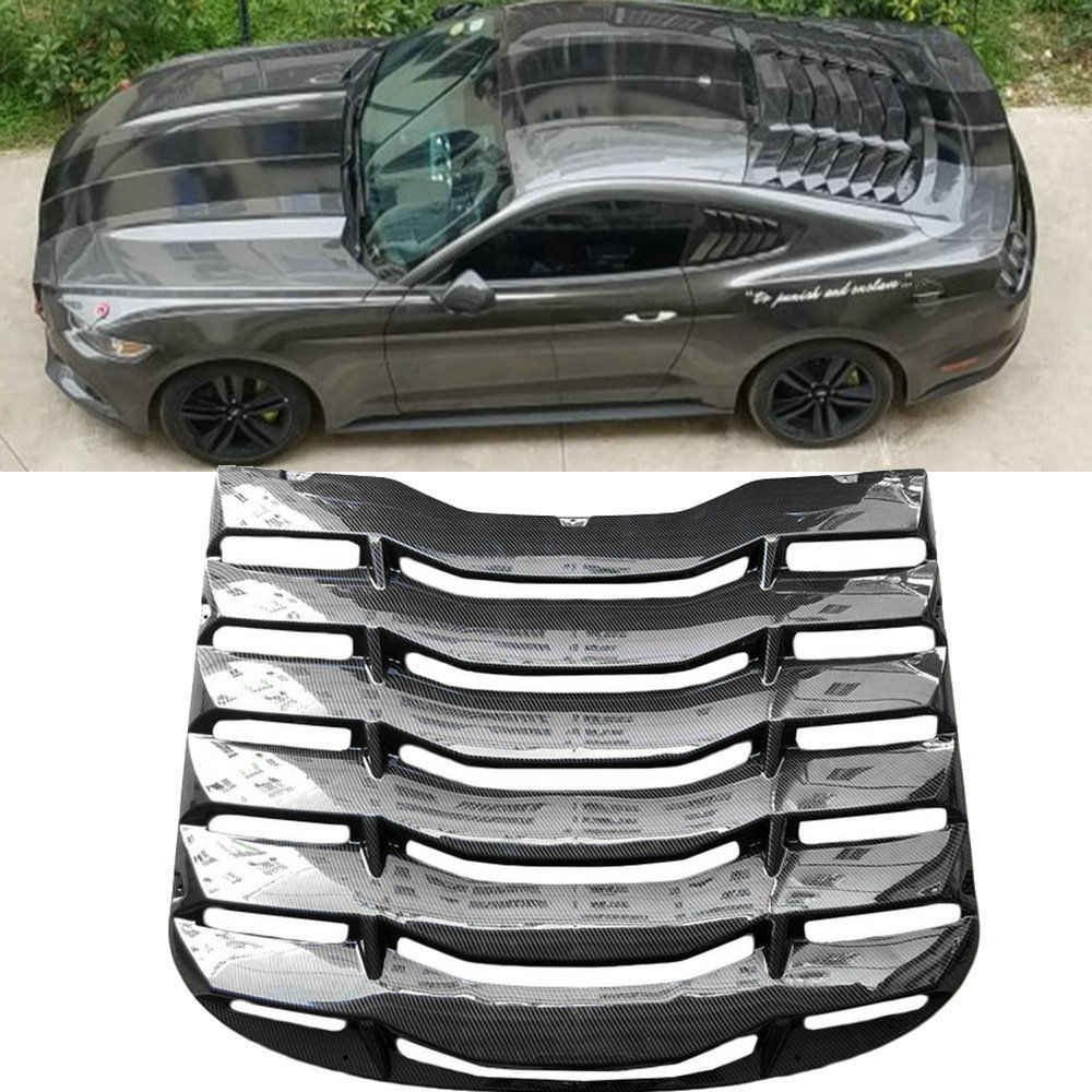 ABS / Carbon Fiber Cover L amborghini style Rear Windshield For 2015-2019 Ford Mustang Bodykit Window Vent Louver Racing Trim