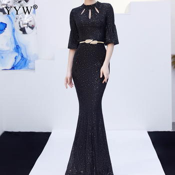 Red Sequined Luxury Evening Dress Women Half Sleeve Hollow Mermaid Long Party Dress Bodycon Elegant Prom Gown Sexy Club Dresses 4