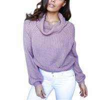 Turtleneck Sweater Women Autumn Winter high collar Knit Sweaters purple gray solid shaggy Light Cooked fiesta Vestidos 66615P