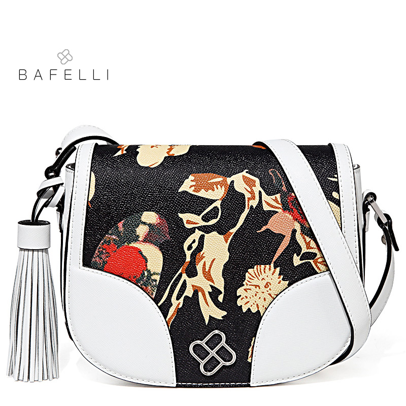 BAFELLI womens shoulder bag fashion tassel split leather letter printing saddle bag summer crossbody bag white black women bag letter patches nylon crossbody bag