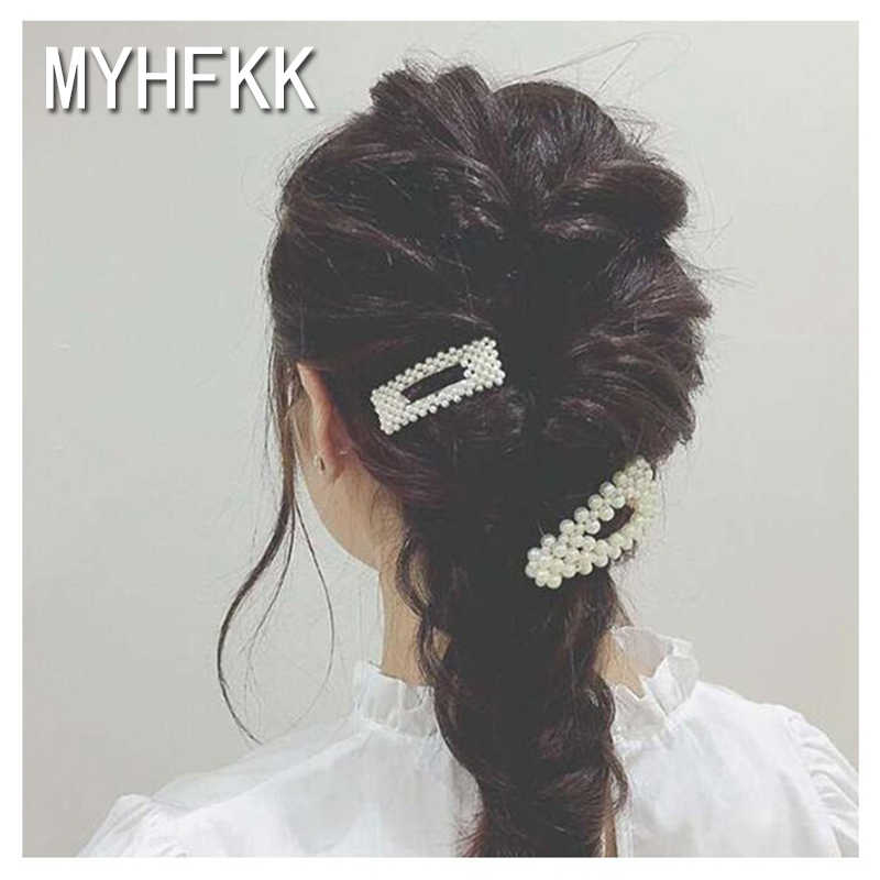 MYHFKK2019 fashion pearl hairpin ladies elegant Korean design female hair accessories hairpin hair styling accessories FJ004