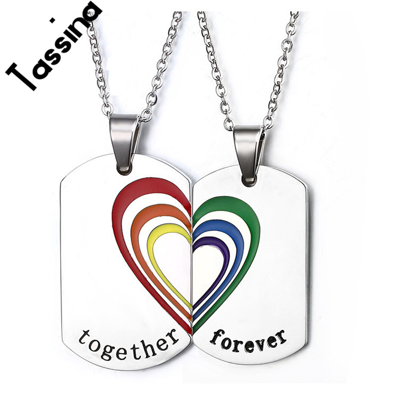 Charms Stainless Steel Pendant DIY Necklace Pride Pendant Rainbow Jewelry