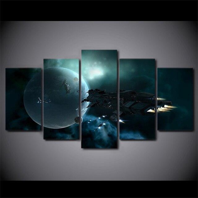5 unids/set enmarcado HD impreso Space Spaceship lona cuadro del ...