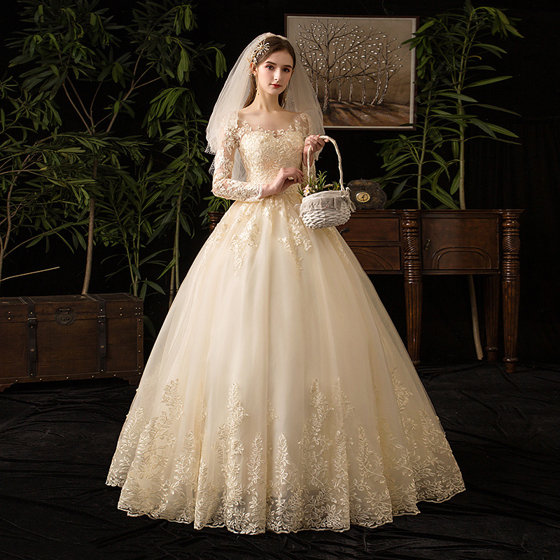 Image 2 - Champagne O Neck Full Sleeve 2019 New Wedding Dress Illusion Lace  Embroidery Simple Custom Made Bridal Gown Vestido De Noiva LWedding  Dresses