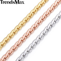 Trendsmax 5MM Rose Gold Filled Necklace Womens Mens Wheat Chain Wholesale Fashion Jewelry GN214