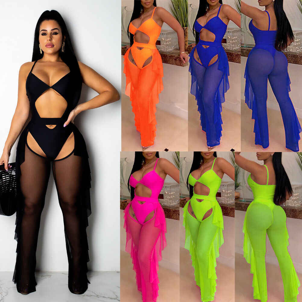 Women High Waist See Through Mesh Ruffles Wide Leg Pant Beachwear Cover Ups Trousers S-2XL