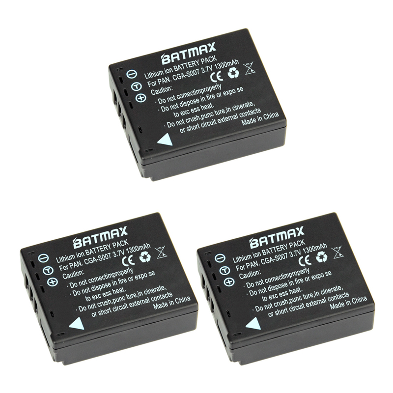 Batmax 3Pcs 1300mAh CGA-S007 CGA CGR S007E S007 S007A BCD10 Battery for Panasonic DMC TZ1 TZ2 TZ3 TZ4 TZ5 TZ50 TZ11 TZ15 Bateria