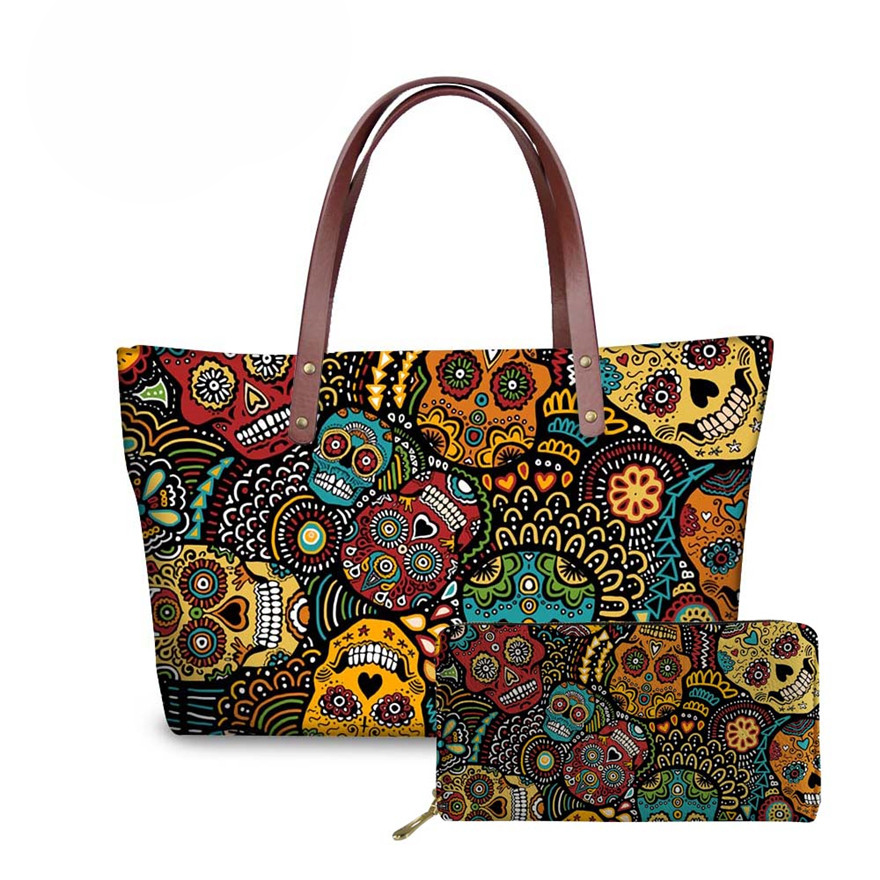 NOISYDESIGNS Handbag&Wallet Women Sugar Skull Printing 2pcs/set Handbags Ladies Fashion Shoulder Tote Bag For Females Hand Bag