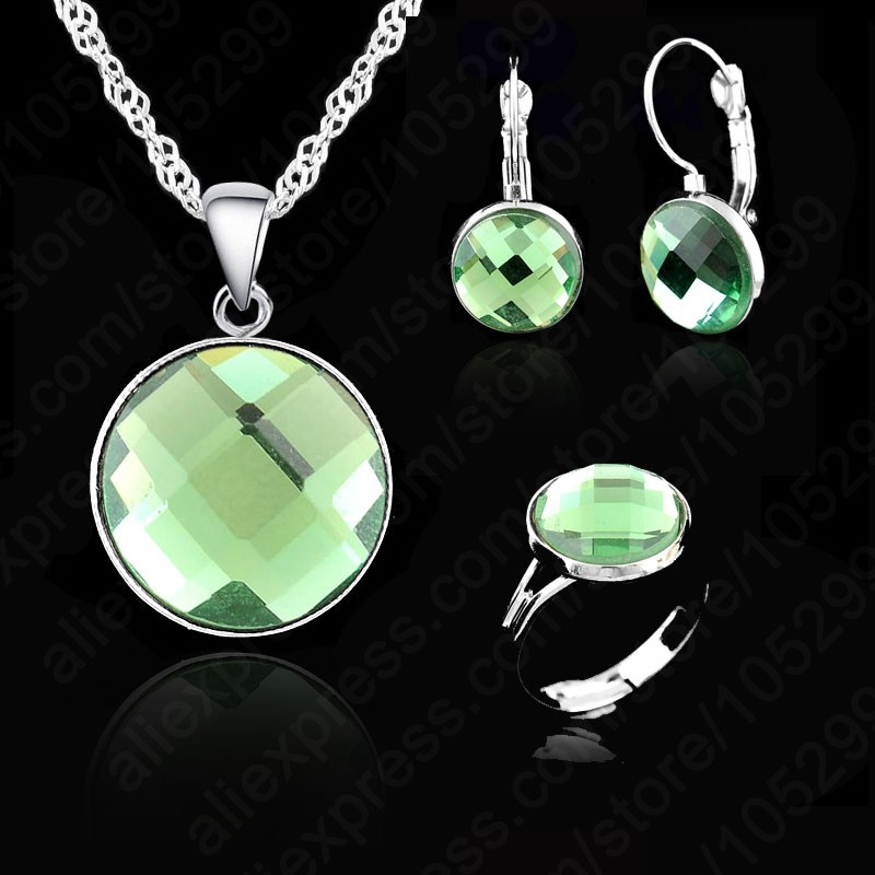 Wedding-Engagement-Gift-Set Earring-Ring Jewelry Necklace Crystal Silver Elegant AAA