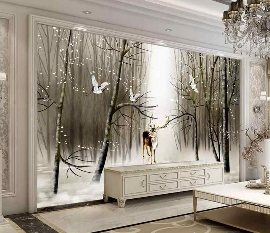 modern living room wallpapers Hand painted beautiful forest art TV background wall painting