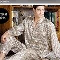 2017 de primavera y otoño ropa de dormir de seda masculina pantalones largos de manga larga twinset delgado más tamaño salón