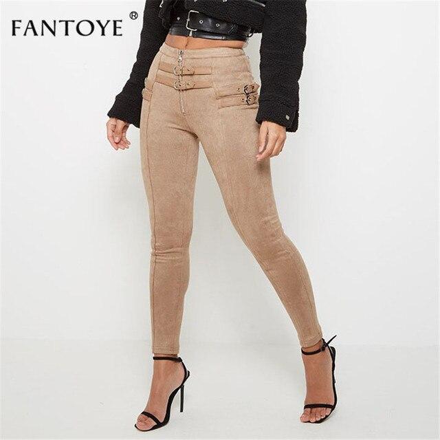 Fantoye Women Casual Bodycon Bandage Suede Pants 2019 Classic Basic Khaki Trousers Ladies Pencil Pants Elastic Women's Pants 1