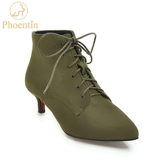 Army green lace up women's boots 2018 new plus size female footwear pointed toe thin med heels womens shoes flock PHOENTIN PH061