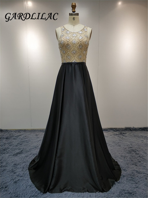 Illusion Beaded A line Evening Dresses Black Long Prom Gown Vestido Longo Prom Dress 2019 Backless Bridal Party Dress G050