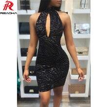 Reaqka Sexy See Through Party Dresses Women Off Shoulder Black Mini Backless Mesh Sequin Summer Dress 2018 Club Vestido De Festa