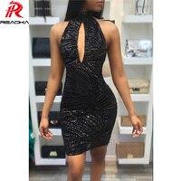 Reaqka Sexy Xem Thông Qua đảng dresses phụ nữ Tắt Shoulder đen thống Backless Lưới Sequin mùa hè ăn mặc 2017 vestido câu lạc bộ de festa