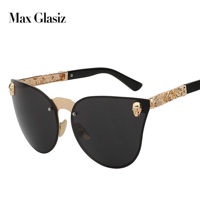 Vintage Sunglasses Cateyes Unique Oversized Rimless Fashion Women For Gafas-De-Sol Skull