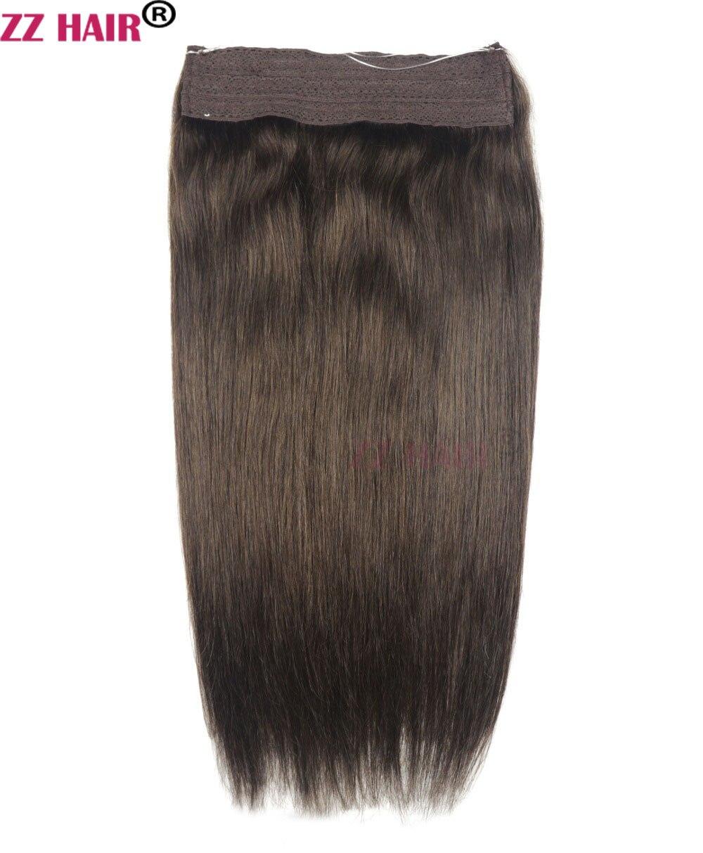 """ZZHAIR 24"""" 61cm 100% Brazilian Hair 120g Flip in Human Hair Extensions 1pcs Halo Hair Non-clips Hair Natural Straight Non-remy"""
