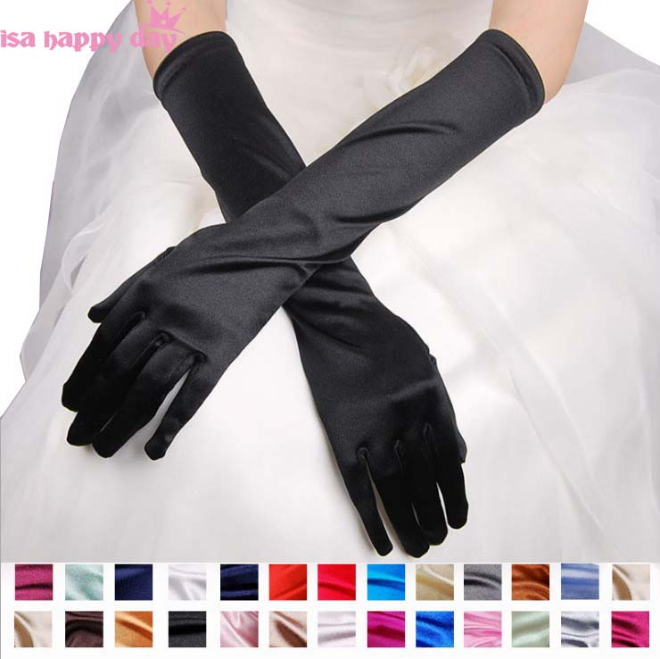 Ivory Bridal Wedding Accessories Gloves For Bride Dress Wedding Womans White And Red Hot Pink Gold Black Blue Braidal Groves