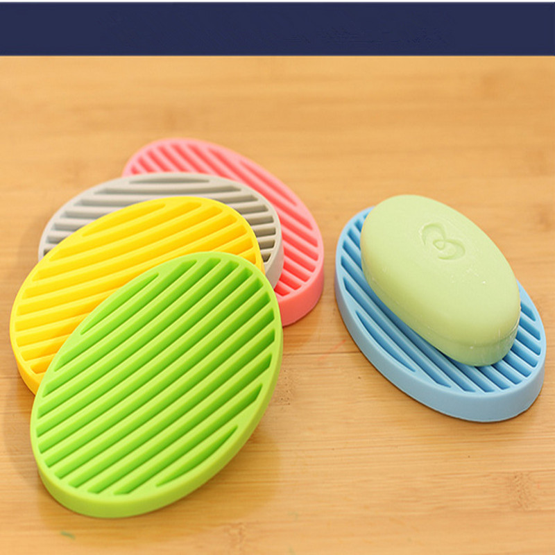 Hot Sale Candy Color Silicone Flexible Soap Dish Plate Bathroom Soap Holder Sap Box High Quality