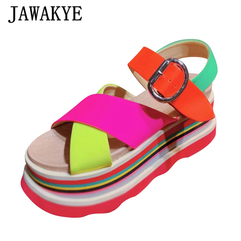 Candy Color Platform Ladies Sandals Crossover Band Real Leather Wedge Heels Thick Bottom Buckle Strap Summer