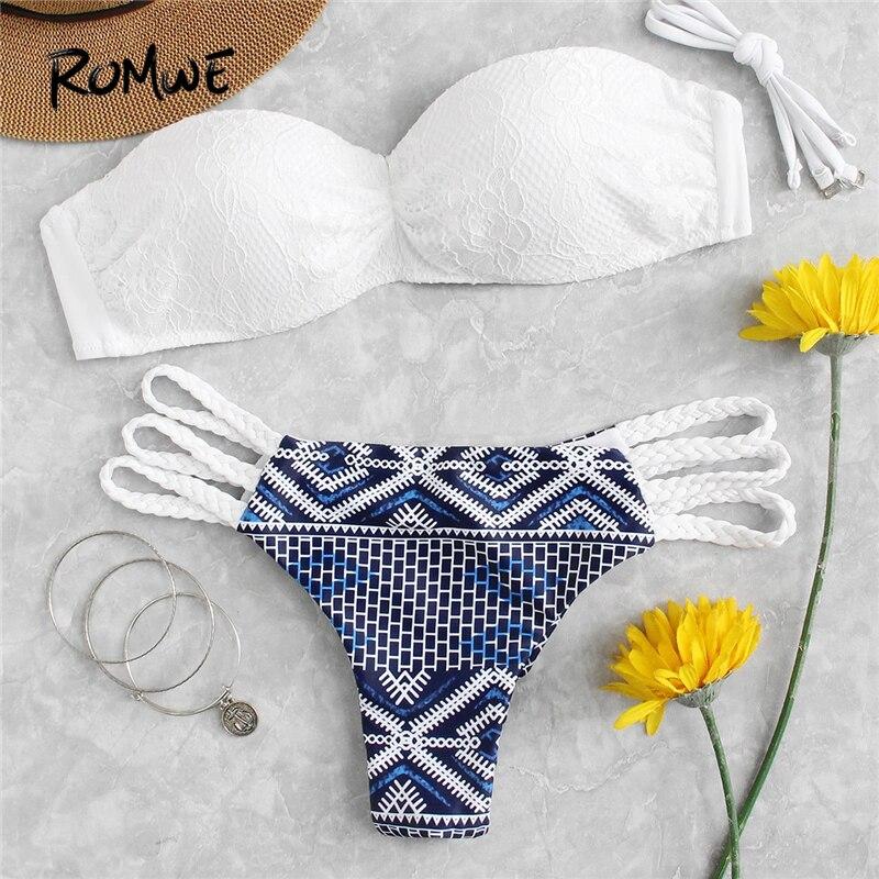 Traje Las Bikinis Top Bikini Mujeres Deporte Con Escalera De Sexy Baño Romwe Encaje Para Blanco Abrigos Corte vPmN0y8nOw