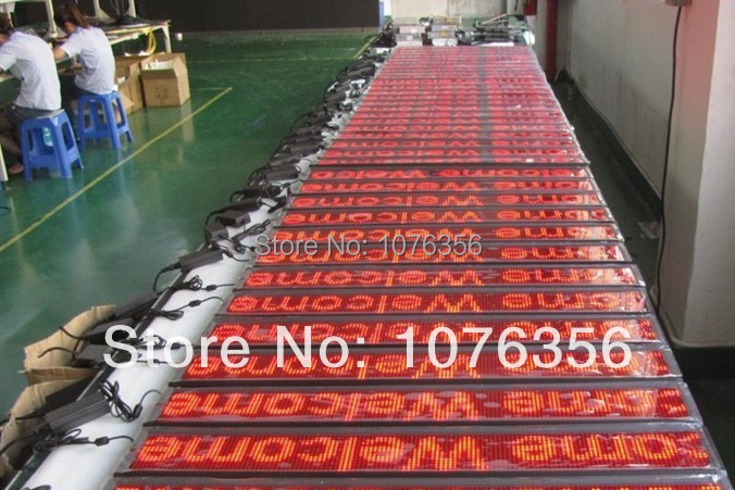 free shipping outdoor single red color led sign with USB port 25 105cm