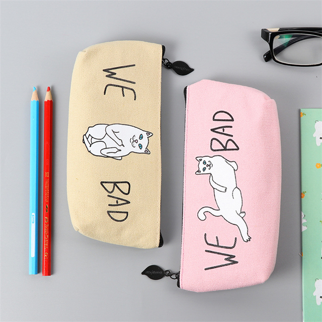 Dl Students Canvas Bag Cat Korean Stationery Pen And Bulk Pencil Office Supplies
