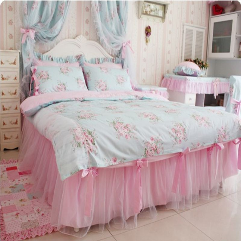 elegant lace bed skirt princess bedding set king queen size 4pcs flower printing duvet cover. Black Bedroom Furniture Sets. Home Design Ideas