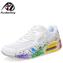 AD AcolorDay 2017 High Quality White Unisex Women Shoes Lace Up Print Luxury Brand Women Casual Shoes Women Air Cushion Shoes