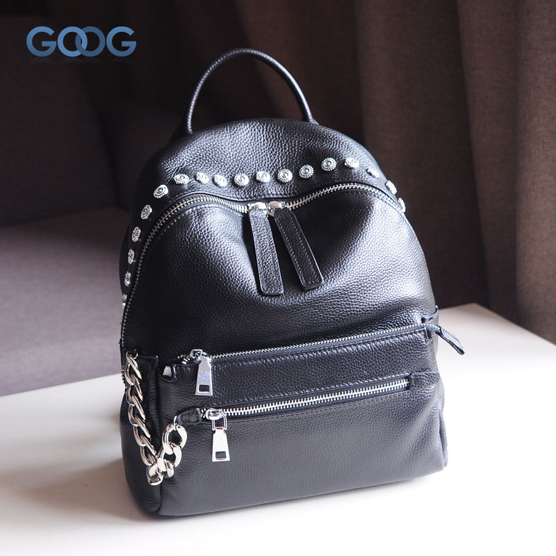 The new Korean version of the first layer of cowboy shoulder backpack fashion casual casual shoulder with three large-capacity p crazy for the cowboy