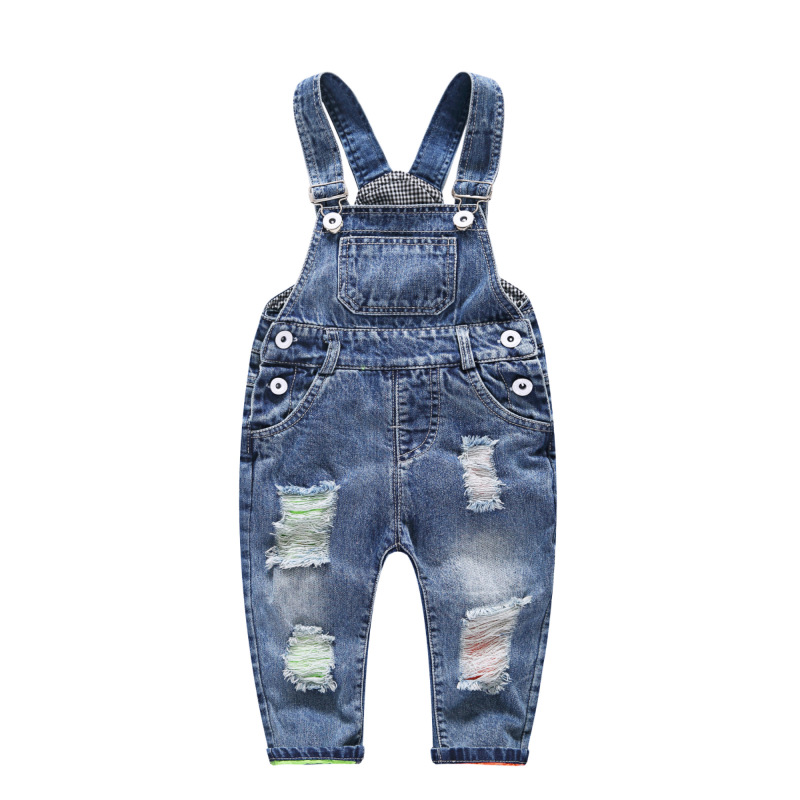 Baby Boy Overalls Kids Denim Jumpsuit 2018 New Fashion Children Ripped Overalls Jeans Pants Boys Girls Jeans Hole Trousers fashion ripped high waisted loose jeans