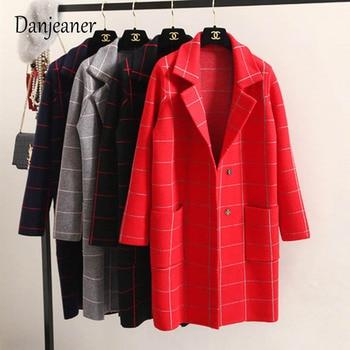 Danjeaner Spring Autumn Womens Wool Trench Korean Fashion Long Woolen Coat Single Breasted Slim Female Winter Coats