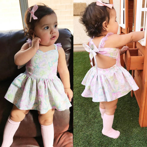 New Toddler Baby Girl Backless Bowknot Lace Princess Party Dresses Summer Floral Dress Vestios Sundress
