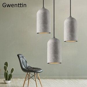 Image 2 - Cimento do vintage pingente lâmpada led retro pendurado luzes para sala de jantar café luz fixtutes industrial luminária suspensão