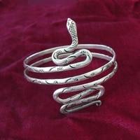 Chinese 100/% handmade Miao jewelry hand Miao silver bracelet arm ring plate snake bracelet