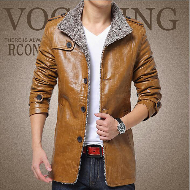 2016 Winter Men Casual Thick Leather Thermal Fleece Jacket Men's Turn Down Collar Warm Leather Jackets Plus Size M-4XL